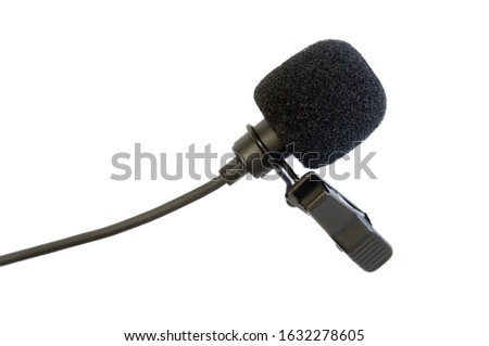 lavalier microphone. lavalier microphone isolate. microphone closeup. announcer recording. human speech. sound vibrations. technical means of recording.sound recording isolate. microphone on a white b