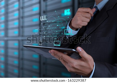 Businessman hand working with a Cloud Computing diagram on the new computer interface as concept #163229387
