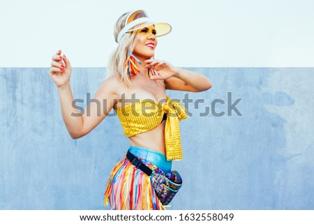 Brazilian Carnival. Young woman dressed for the carnival block, traditional events on the streets of Brazil during the carnival. #1632558049