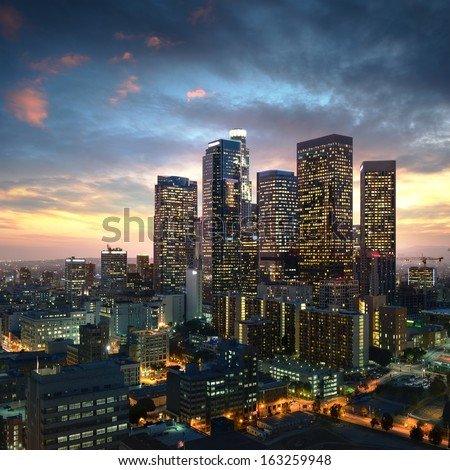Los Angeles downtown at sunset, California #163259948