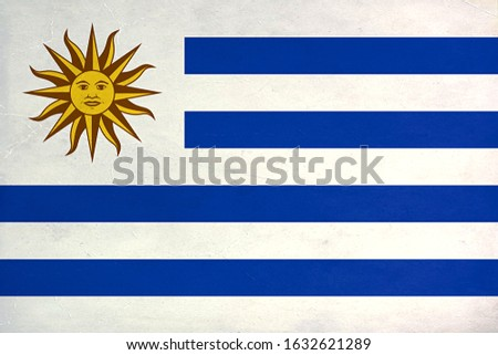 Grunge Flag of Uruguay, Uruguay flag pattern on the concrete wall, flag of Uruguay banner on scratched vintage texture, retro effect , Background for design in country flag #1632621289
