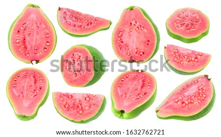 Isolated guava pieces. Collection of cut green pink fleshed guava fruits of different shapes isolated on white background with clipping path #1632762721