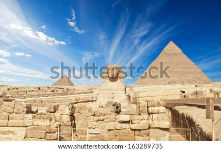 Great Pyramid of Pharaoh Khufu, located at Giza and the Sphinx. Egypt  #163289735