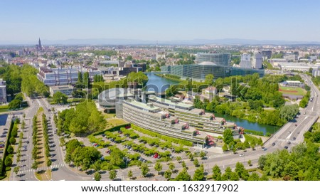 Strasbourg, France. The complex of buildings is the European Parliament, the European Court of Human Rights, the Palace of Europe, Aerial View   #1632917902