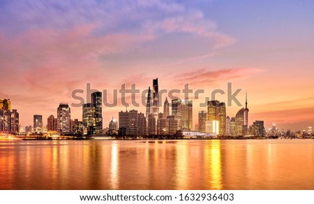 Panoramic view of lujiazui financial district, pudong district, Shanghai, China #1632936403
