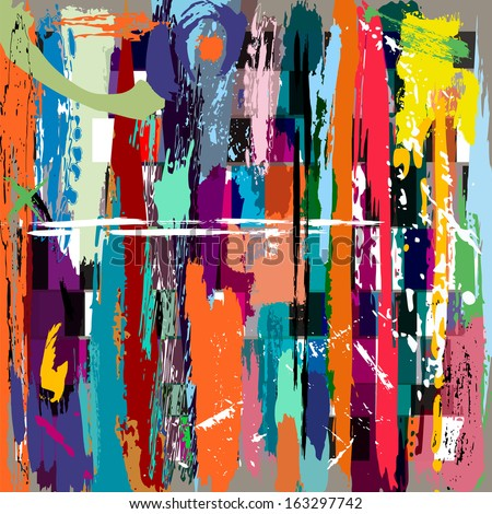 abstract background, with squares, paint strokes and splashes #163297742