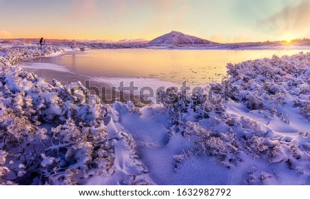 Amazing sunrise in the mountains. Frozen lake, snow covered branches of small trees, rising sun, sunrays and the highest mountain of the Czech Republic. That's pure nature, pure joy. #1632982792