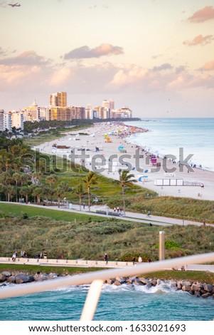 Miami Beach/ South beach during sailaway on cruiseship