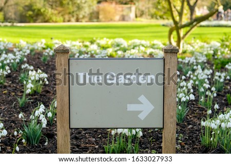 Newly erected sign seen located in a bed of fresh Snowdrops located in a public park. The sign directs visitors around the various types of plants and flowers growing.
