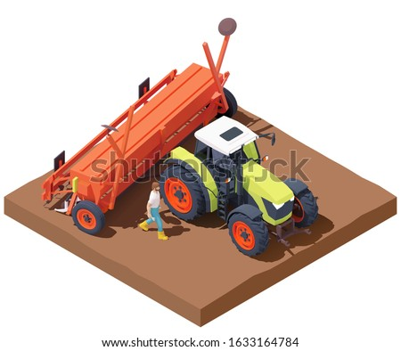 Vector isometric tractor with seed drill or seeder working in field. Green tractor seeding crops at filed, planting seed in soil. Farmer calibrating seed drill. Sowing process with modern agricultural #1633164784