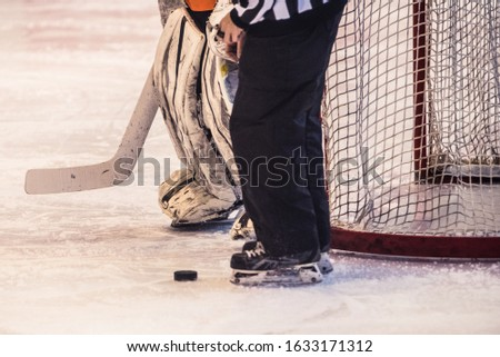 Ice hockey goalie standing next to the net with puck and referee #1633171312