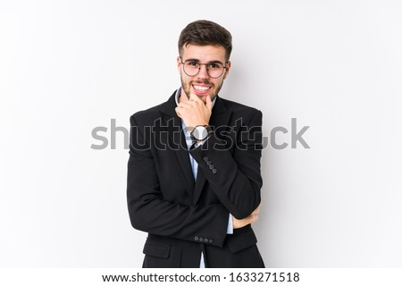 Young caucasian business man posing in a white background isolated Young caucasian business man smiling happy and confident, touching chin with hand. #1633271518