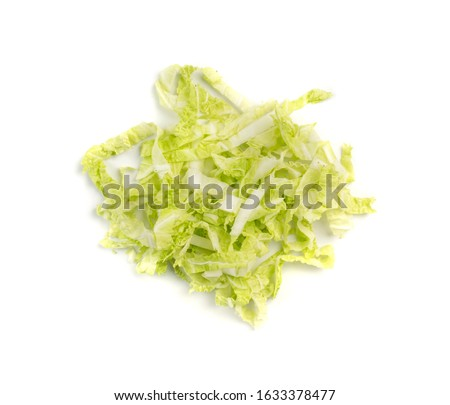 Heap of Chopped Chinese Cabbage, Napa Cabbage or Wombok Isolated on White Background. Fresh Green Sliced Cabbage Salat Top View #1633378477