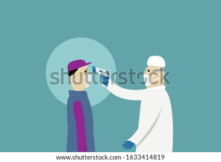 A masked health worker measures body temperature of a person using IR gun thermometer reader concept. Editable Clip Art.