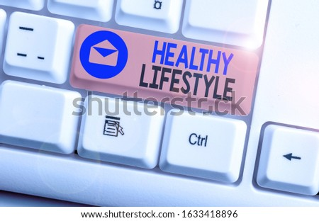 Writing note showing Healthy Lifestyle. Business photo showcasing way of living that lowers the risk of being seriously ill. #1633418896