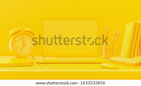 Minimal concept, Laptop on table Work desk yellow color and mock-up for your text with notebook ,mouse ,alarm clock ,Paper clip ,Pencil and Pin . 3d render.