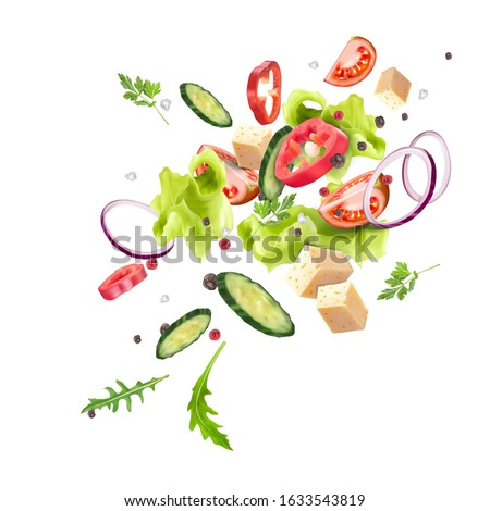 A splash of fresh vegetable salad. Vegetarianism, vitamins, healthy nutrition, diet. Vector 3d realistic dynamic composition isolated on white background. #1633543819