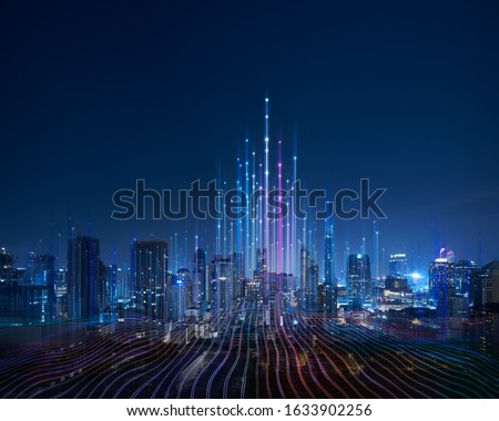 Smart city and abstract dot point connect with gradient line and aesthetic Intricate wave line design , big data connection technology concept . Royalty-Free Stock Photo #1633902256