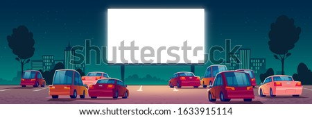 Outdoor cinema, drive-in movie theater with cars on open air parking. Vector cartoon summer night city with glowing blank screen and automobiles. Urban entertainment, film festival #1633915114
