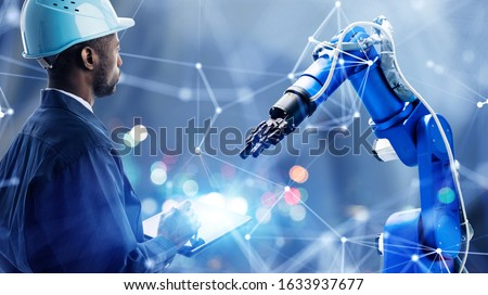 Industrial technology concept. Communication network. INDUSTRY 4.0. Factory automation. #1633937677