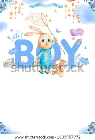 Cute happy birthday card with cartoon Bunny and baby room, butterfly and catoon. Watercolor rabbit clip art and beauty boho. Baby Shower card nursery
