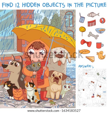 Find 12 hidden objects in the picture. Under umbrella. Little girl protects homeless pets from rain. Puzzle Hidden Items. Funny cartoon character Royalty-Free Stock Photo #1634183527