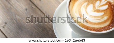 coffee cup break breakfast tea in shops café at coffee and tea cups.  how shops concept in  morning  sugar lifestyle. fresh coffee cup. coffee texture backgrounds.  #1634266543