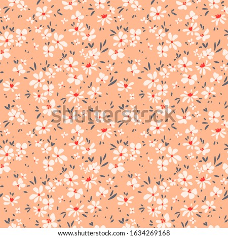 Cute floral pattern in the small flower. Ditsy print. Seamless vector texture. Elegant template for fashion prints. Printing with small white flowers. Light orange background. #1634269168