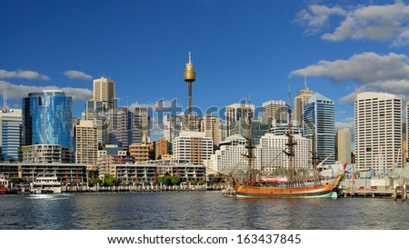 Darling Harbour with blue sky Royalty-Free Stock Photo #163437845