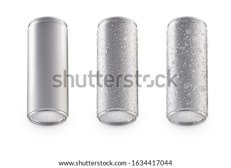 Aluminum bottom cans isolated on white background.bottom canned with water drops.bottom canned with water drops and ice.canned under view #1634417044