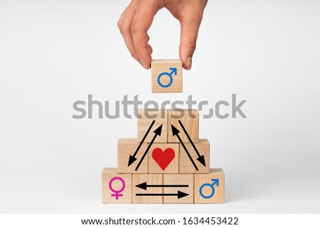 Concept Love triangle with a picture of a male and female symbol