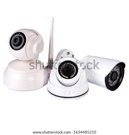 Security cameras of several types. IP camera, wifi camera, wired camera. #1634485210
