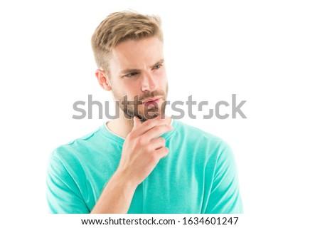 Facial hair has become more fashionable again. Serious man touch beard. Handsome guy with stylish beard shape. Beard grooming. Beard barber. Barbershop. Hair salon, copy space. #1634601247