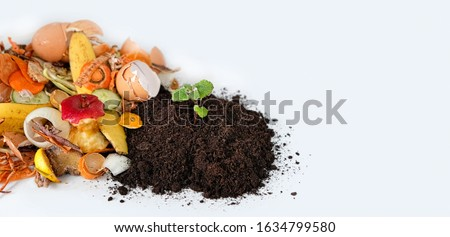 Compost from fruits, vegetable scraps and plant sprout in ground . waste for recycling. Food waste, Environmentally responsible behavior concept. copy space Royalty-Free Stock Photo #1634799580