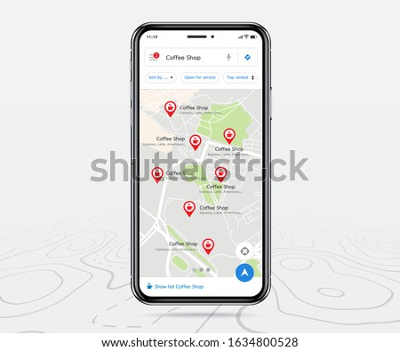 Mobile map gps, Smartphone map application and red pinpoint on screen, App search map navigation, isolated on line maps background, Vector illustration for graphic design #1634800528
