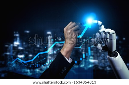 Trading bots development - Human hand fights with bots hand over stock market trading chart. Concept of trading software robot development. #1634854813