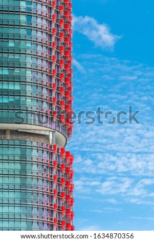 Close up of the International Towers in Sydney against a blue sky Royalty-Free Stock Photo #1634870356