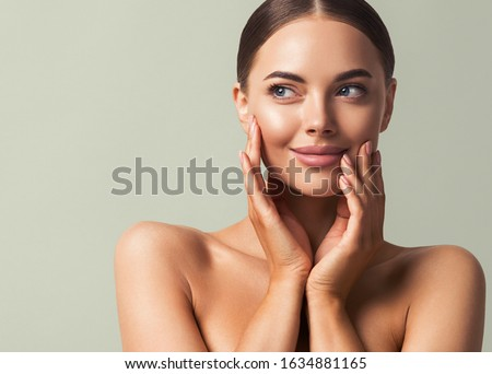 Skin tone woman face healthy skin beauty eyes lips close up hand manicure nails #1634881165