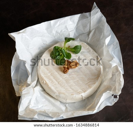 brie cheese in front of white background Royalty-Free Stock Photo #1634886814