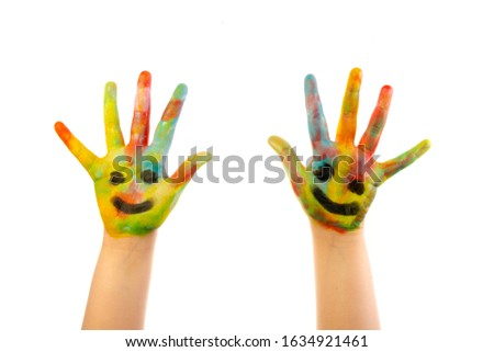 Children hand creative colorful creative artistic #1634921461