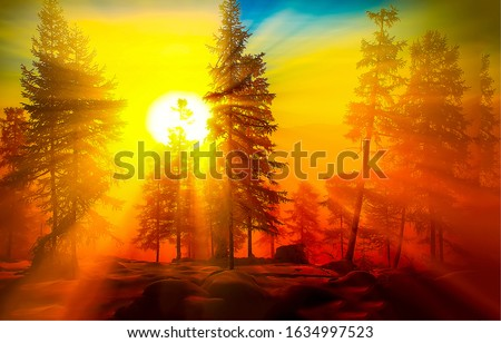 Sunrise in forest. Forest sunrise view. Sunrise forest trees landscape. Sunrise in winter forest #1634997523
