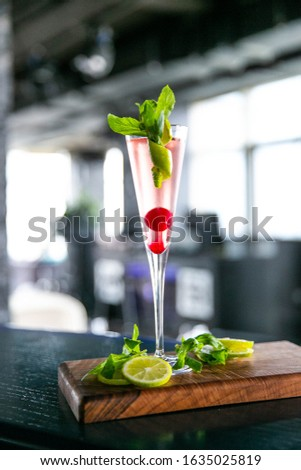 Special decorated drink with lemon background #1635025819