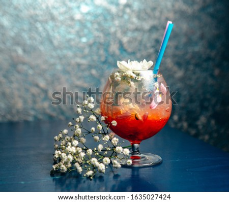 Red drink glass with flower decoration #1635027424