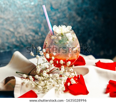 Special 14 February drink with flower decoration #1635028996