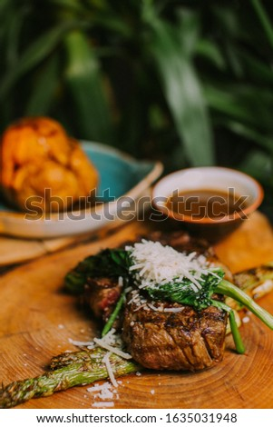 Well-done steak with special wooden decoration #1635031948