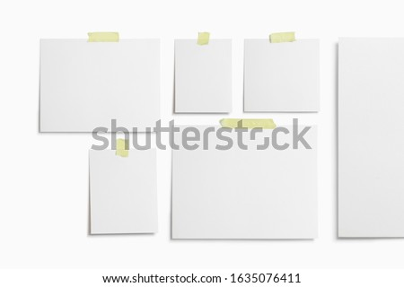 Moodboard template composition with blank photo cards, torn paper, polaroid frame glued with yellow adhesive tape and isolated on white for easy editing. #1635076411