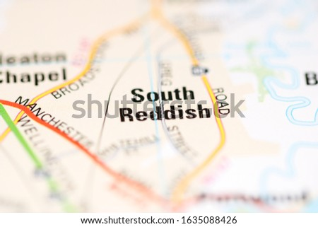 South Reddish on a geographical map of UK #1635088426