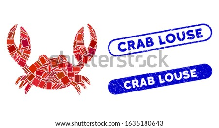 Mosaic crab and grunge stamp seals with Crab Louse phrase. Mosaic vector crab is formed with randomized rectangle items. Crab Louse seals use blue color, and have round rectangle shape.