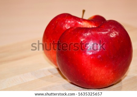 close-up - halves of an apple, like two lovers in half of one whole #1635325657