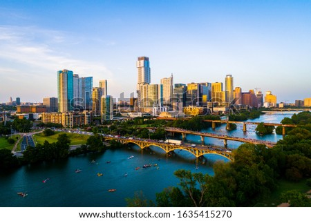 Austin Texas skyline cityscape during afternoon sunset